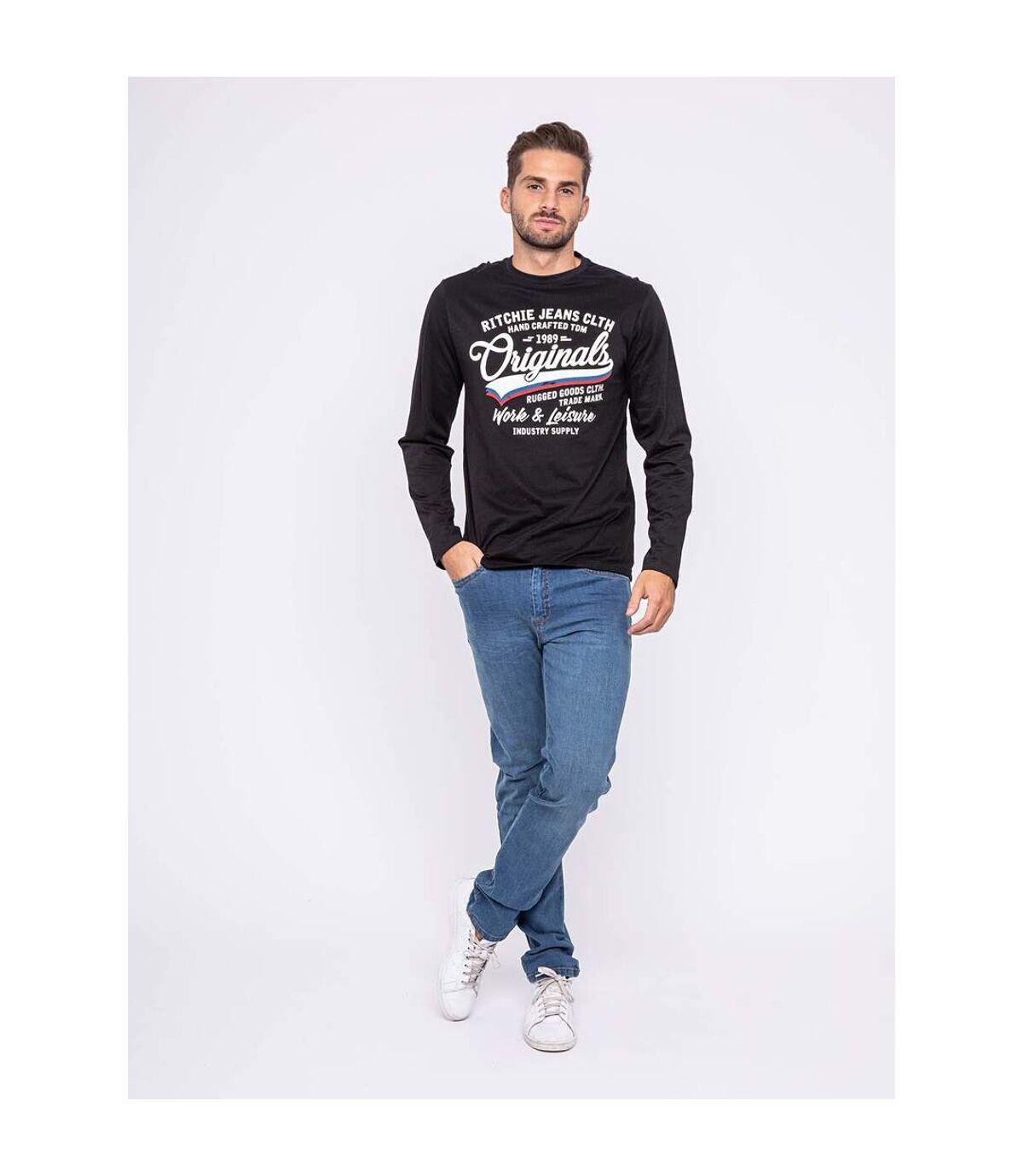 T-shirt manches longues col rond pur coton JEULAND - RITCHIE