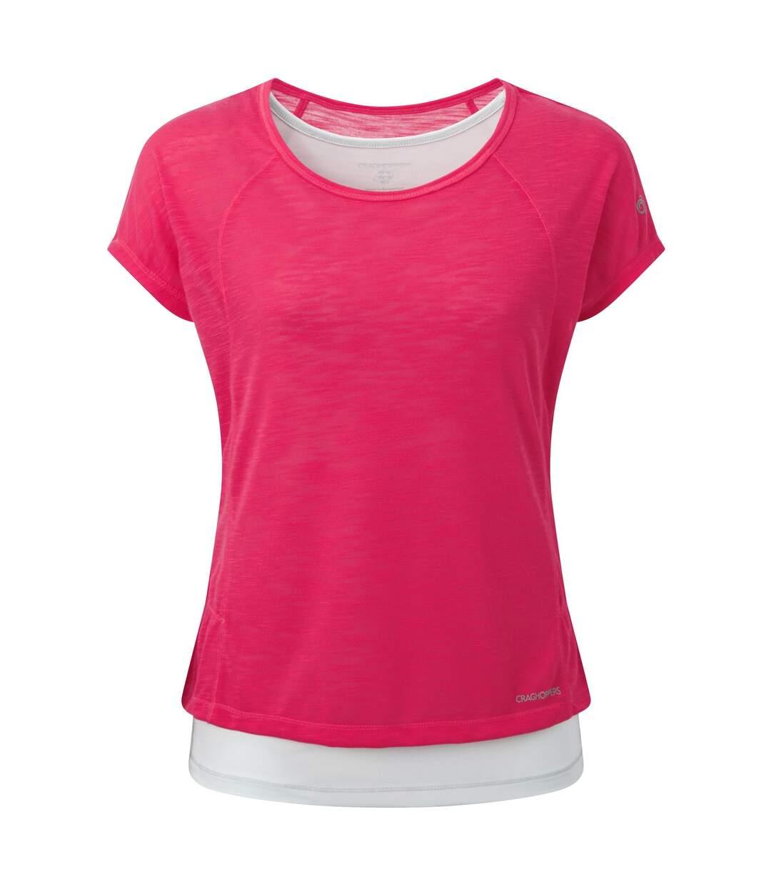 Craghoppers Pro Lite - T-Shirt Et Veste 3 En 1 - Femme (Rose électrique / blanc) - UTCG310