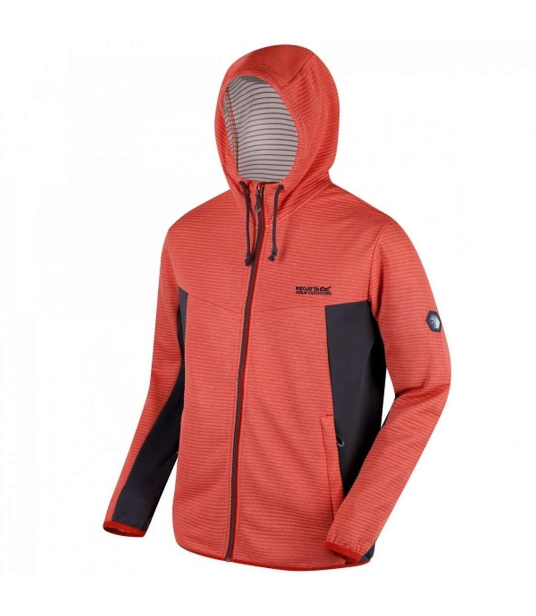 Regatta Mens Tarnis Full Zip Hooded Fleece (Burnt Tikka/Seal Grey) - UTRG3394