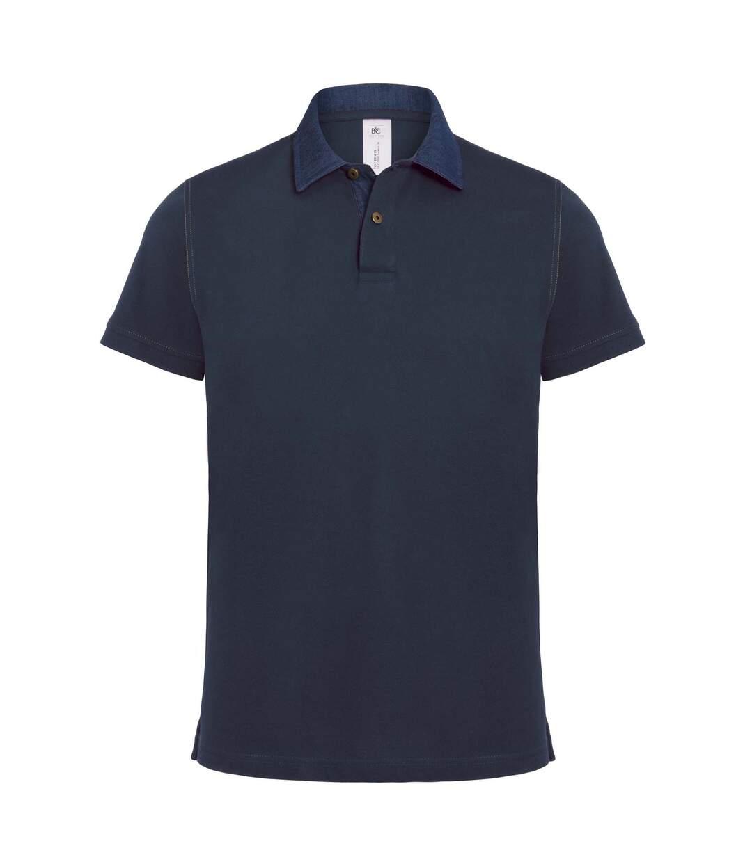 B&C Denim Mens Forward Short Sleeve Polo Shirt (Denim/ Navy) - UTRW3053