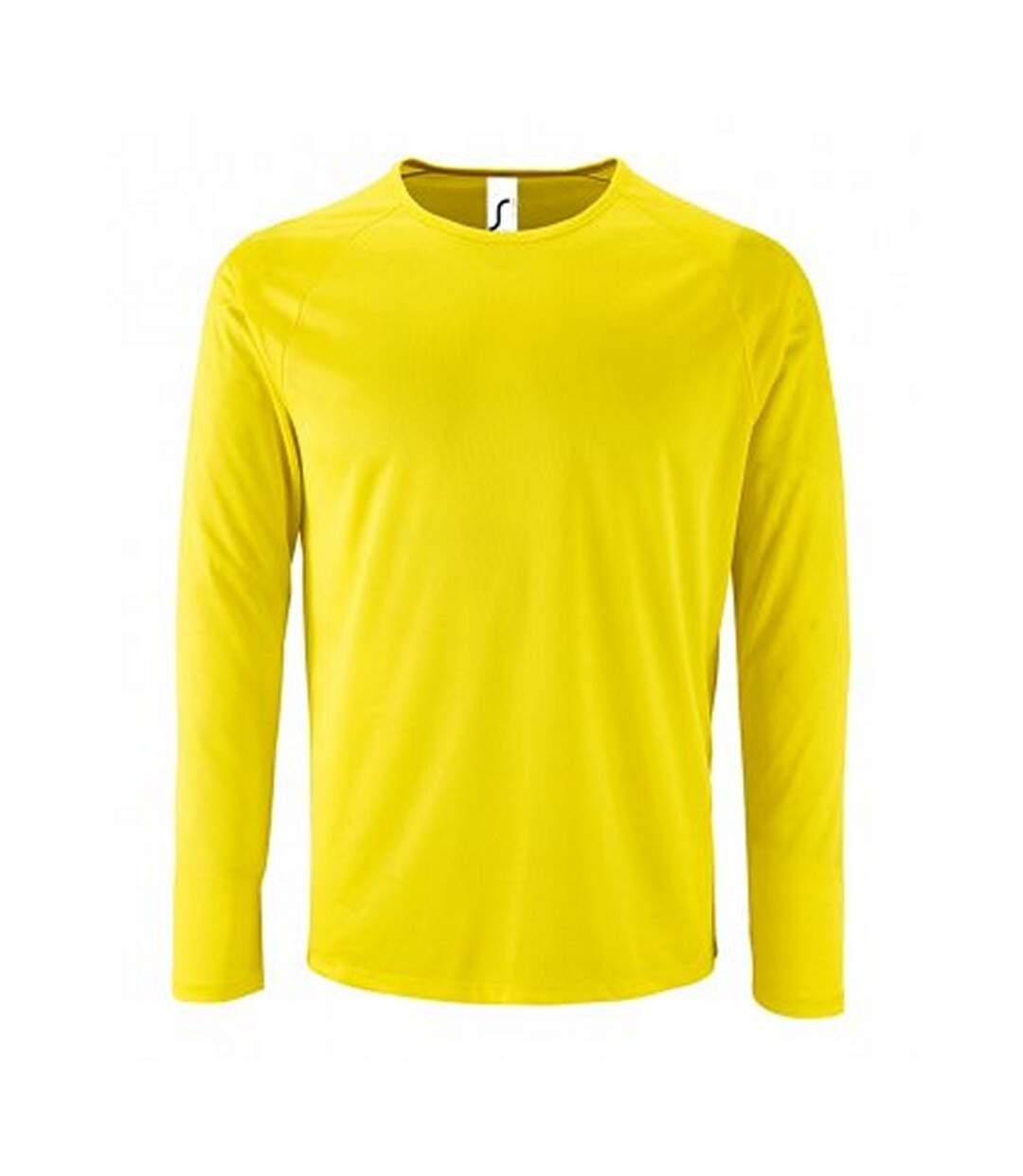 SOLS Mens Sporty Long Sleeve Performance T-Shirt (Neon Yellow) - UTPC2903