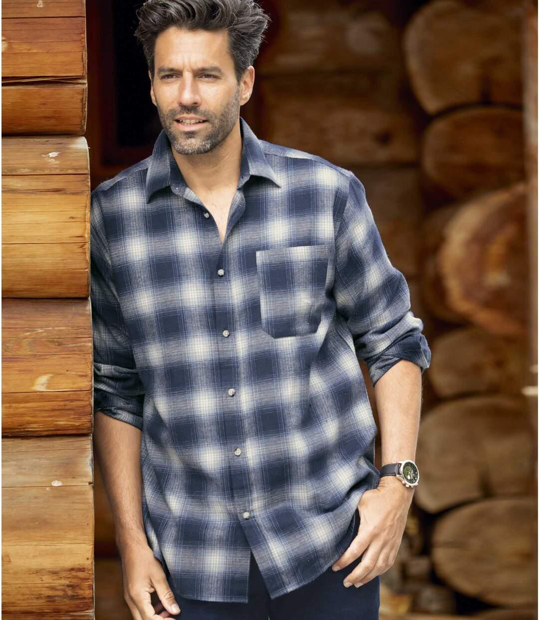 Flanelowa koszula w niebieską kratę