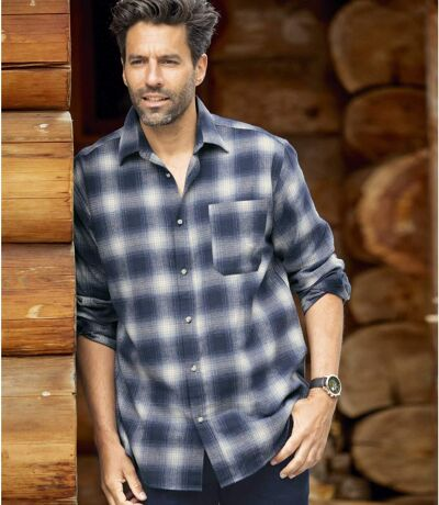 Men's Checked Flannel Shirt - Long Sleeves