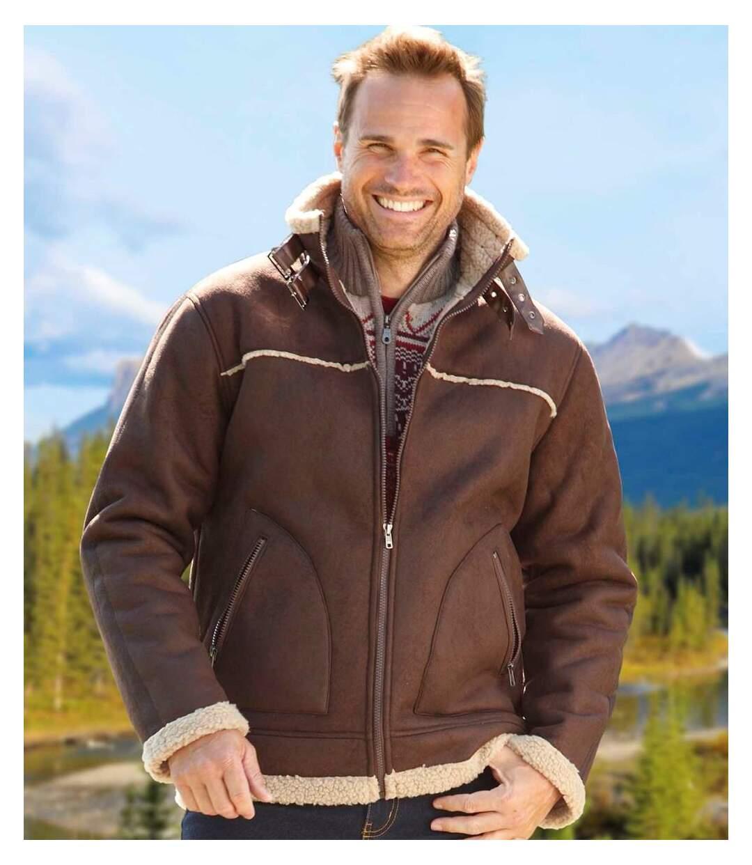 Куртка из Искусственной Замши с Подкладкой из Шерпы