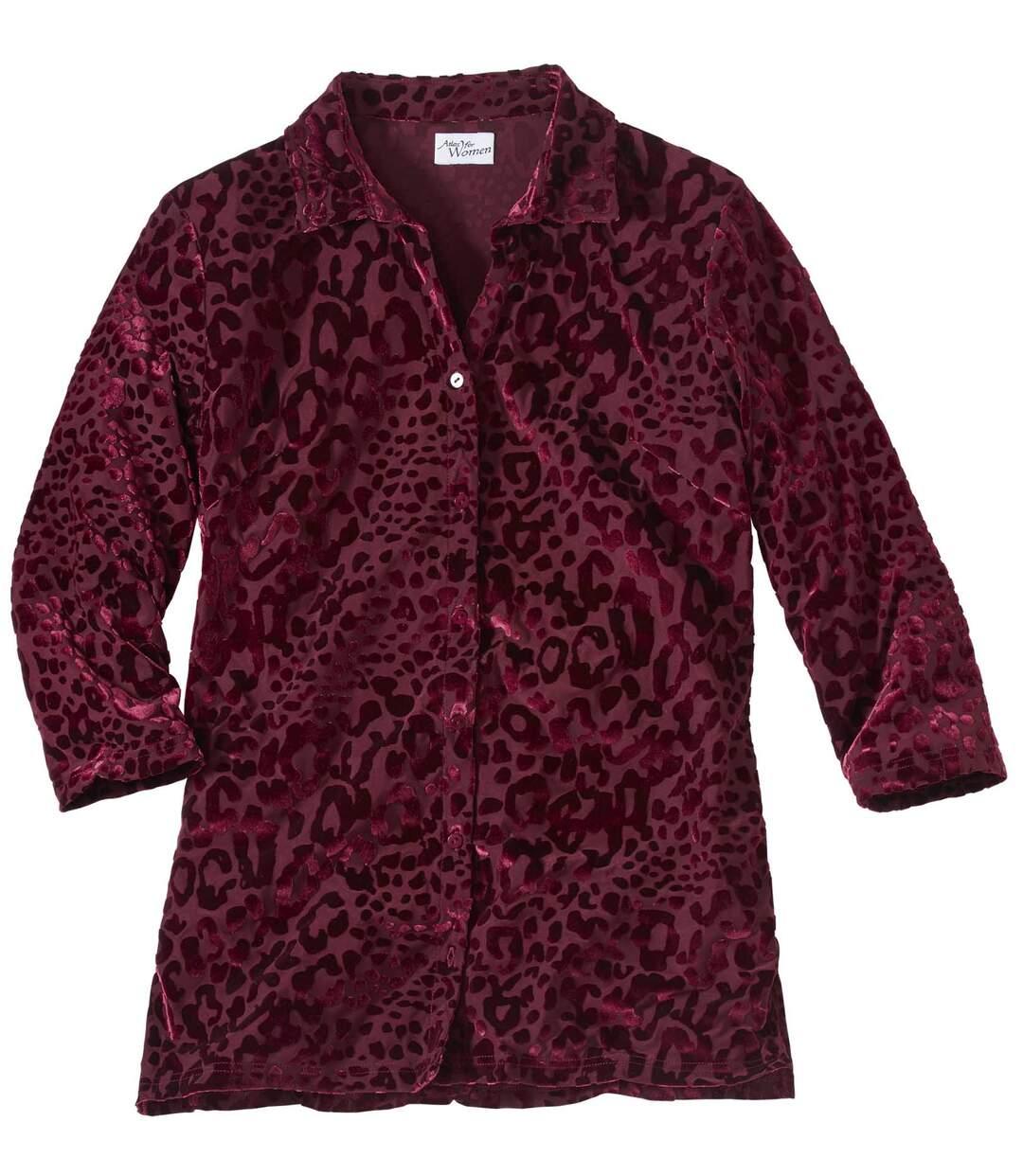 Women's Red Velour Blouse - Animal Print