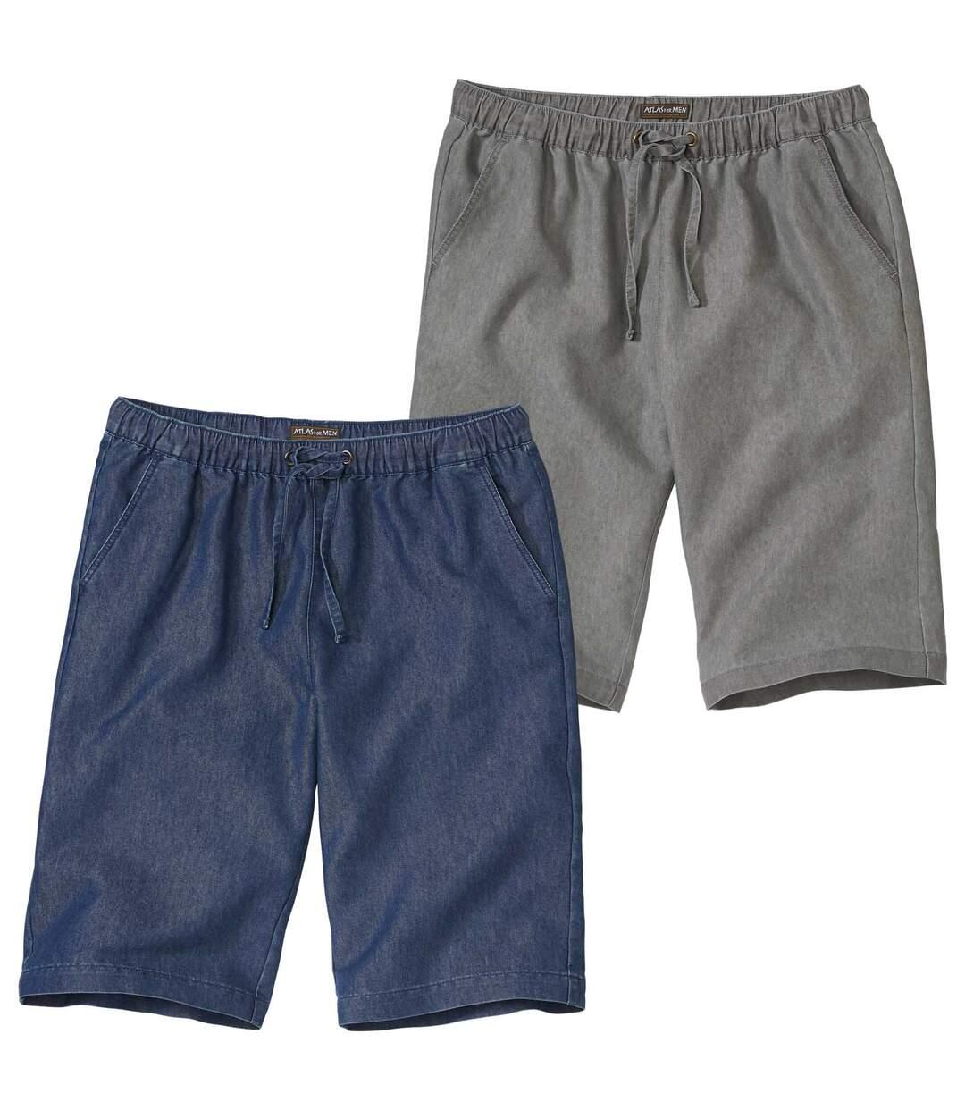 Pack of 2 Pairs of Men's Casual BermudaShorts - Blue Grey