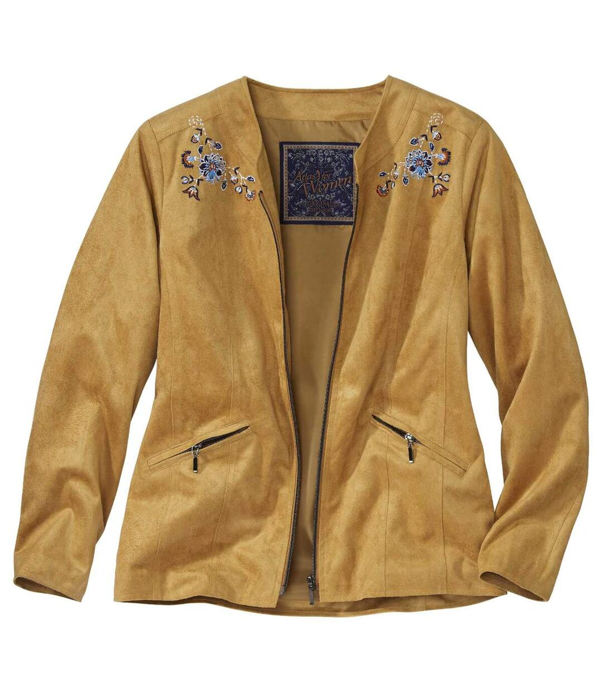 Women's Embroidered Faux Suede Jacket - Camel Atlas For Men