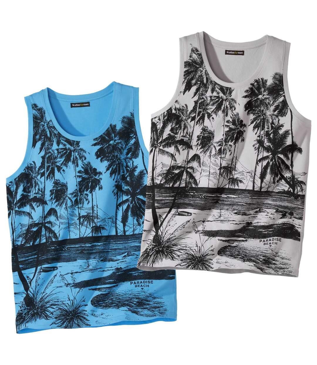 Set van 2 tanktops met Palm Beach-print