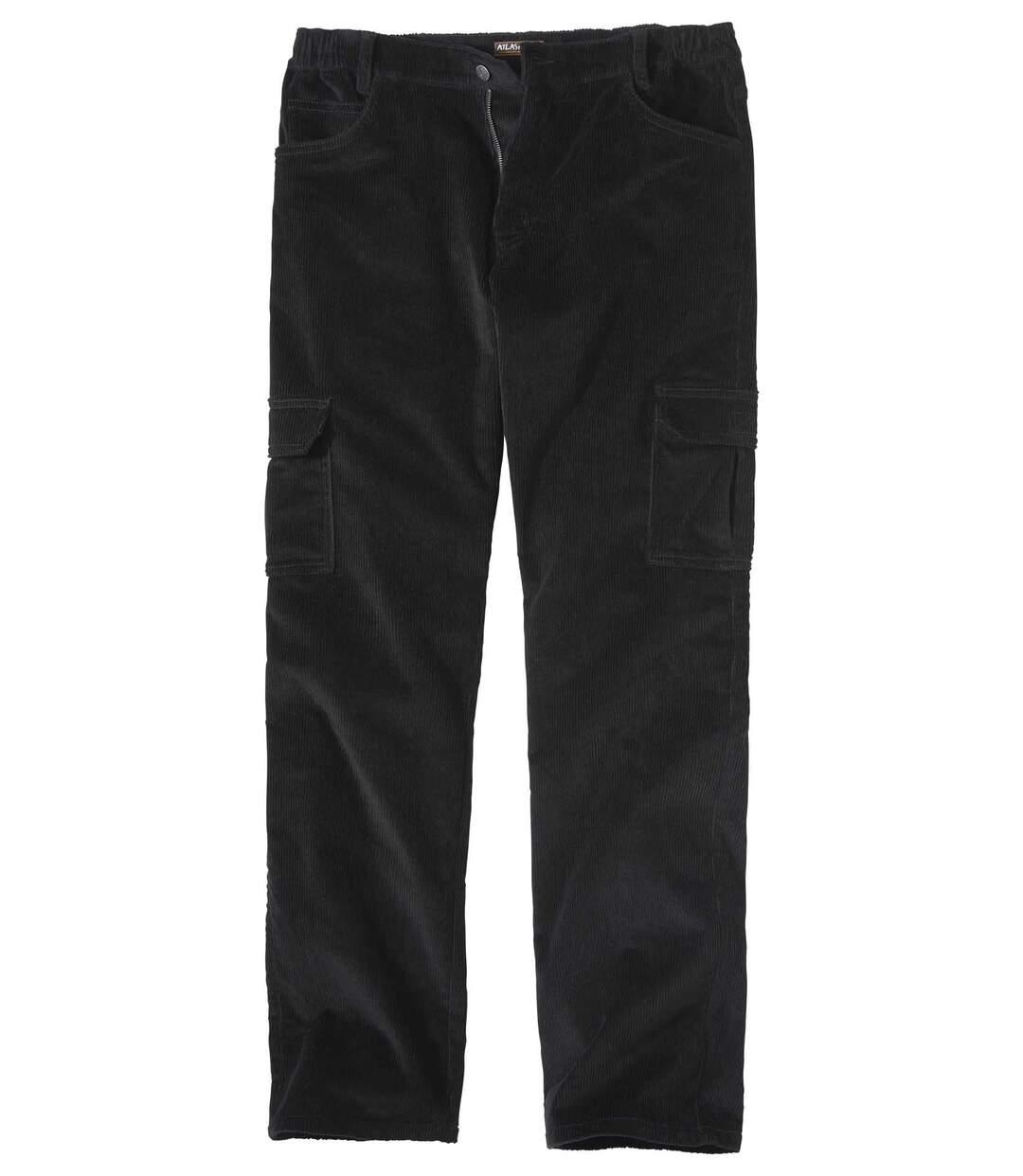 Men's Black Corduroy Cargo Trousers - Stretch Comfort