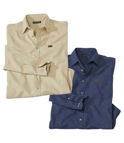 Pack of 2 Men's Long Sleeve Flannel Shirts - Beige Blue