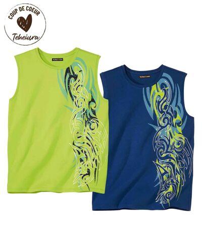 Lot de 2 Tee-Shirts Sans Manches Hawaï