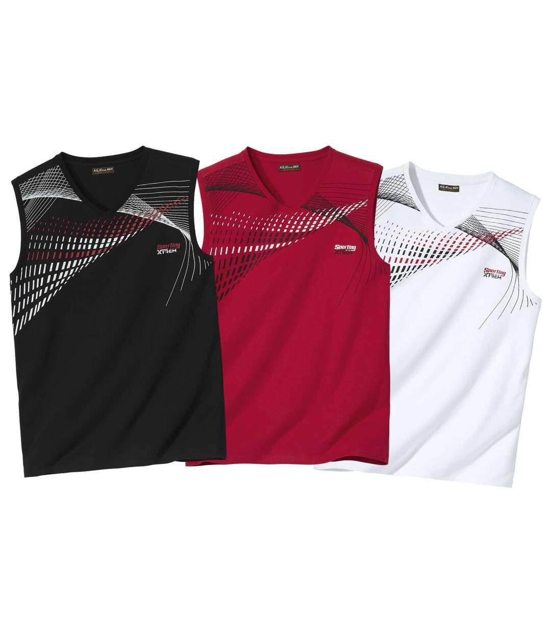 Pack of 3 Men's Sports Vests - Black Red White