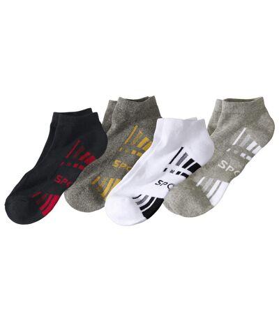 Pack of 4 Pairs of Men's Trainer Socks - White Black Grey