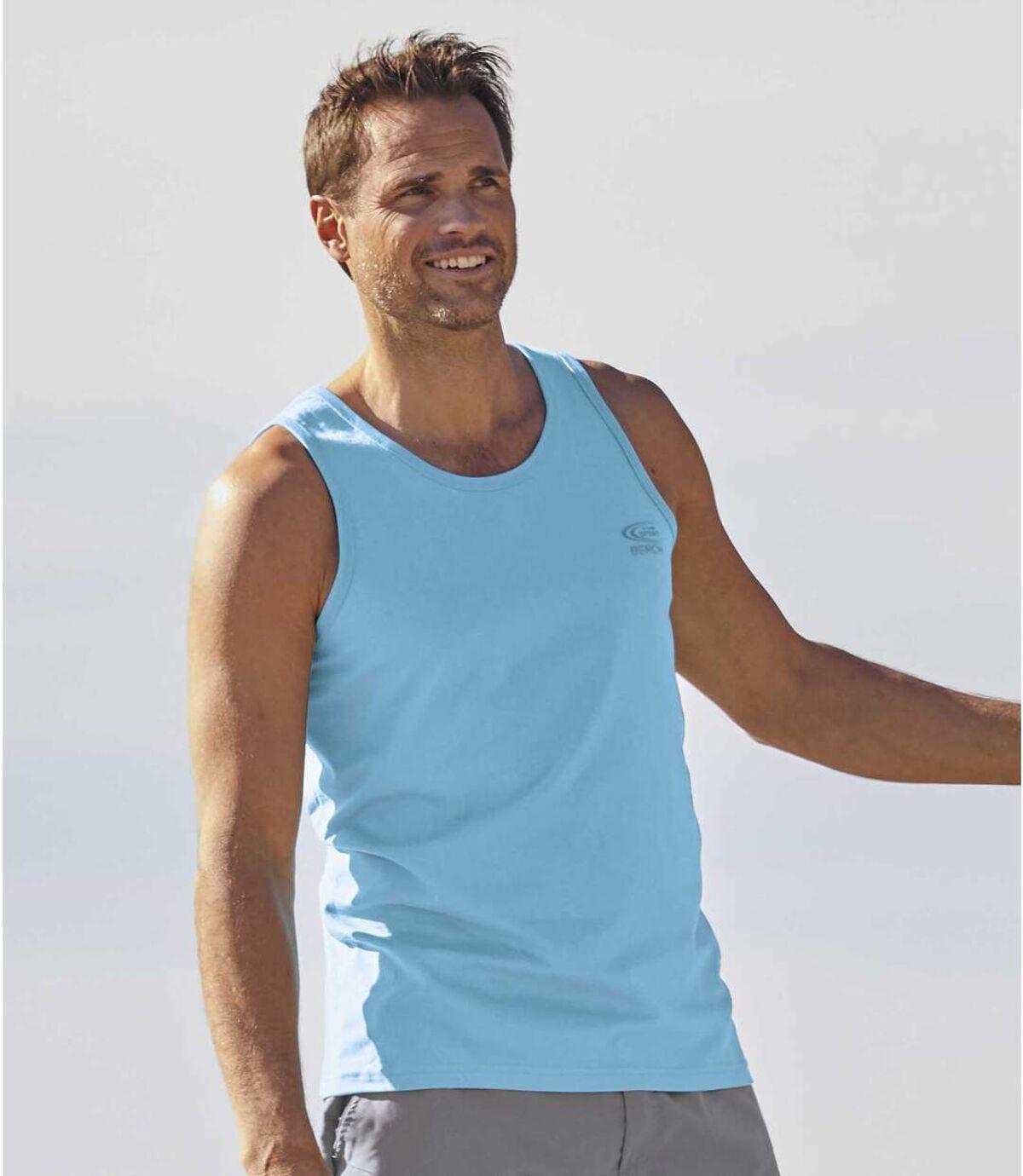 Pack of 3 Men's Tank Tops - Turquoise Grey White Atlas For Men