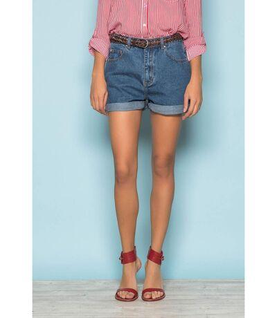 Short en jean taille haute avec revers HOLLY Blue Denim