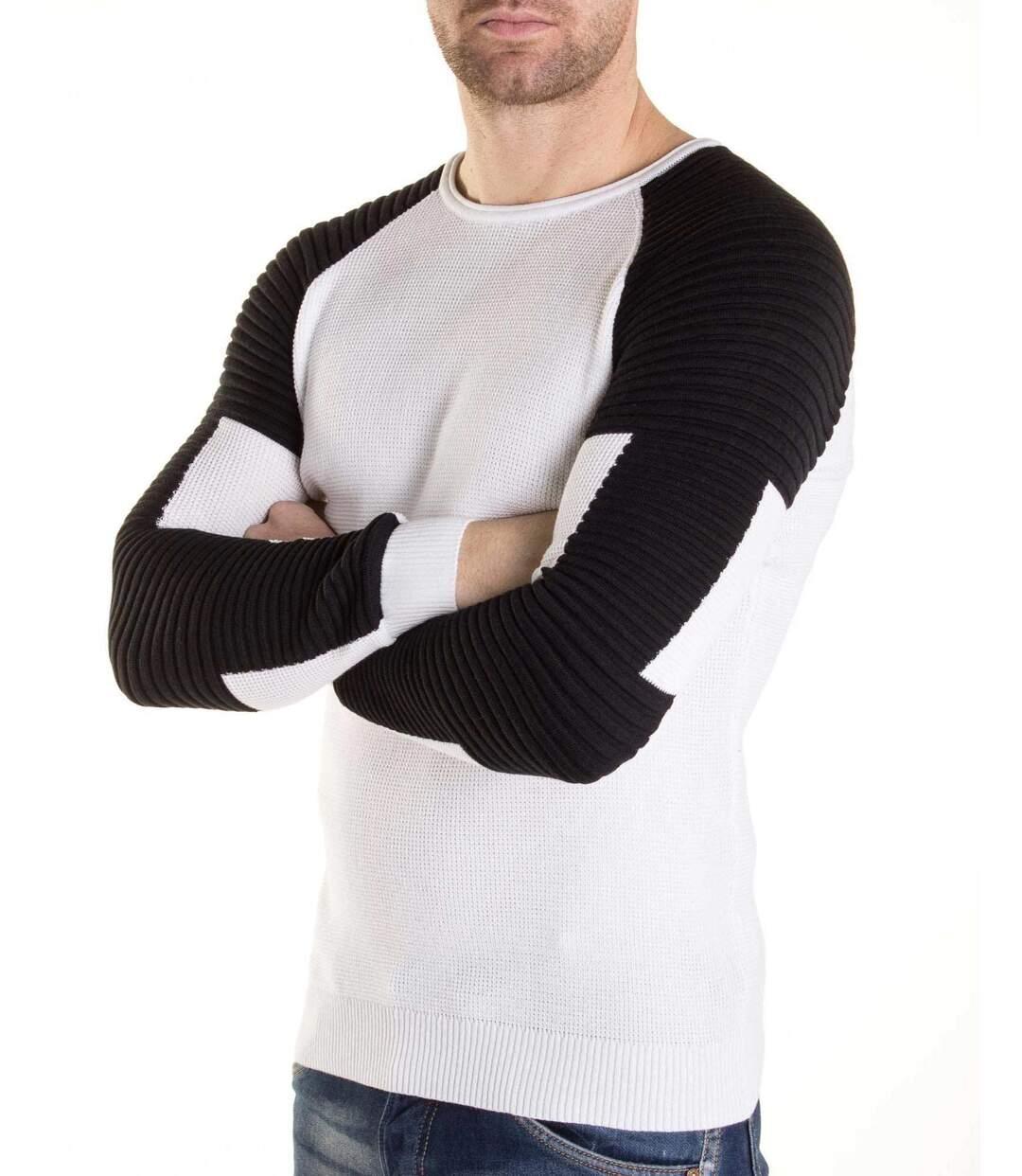 Pull homme blanc et noir fine maille