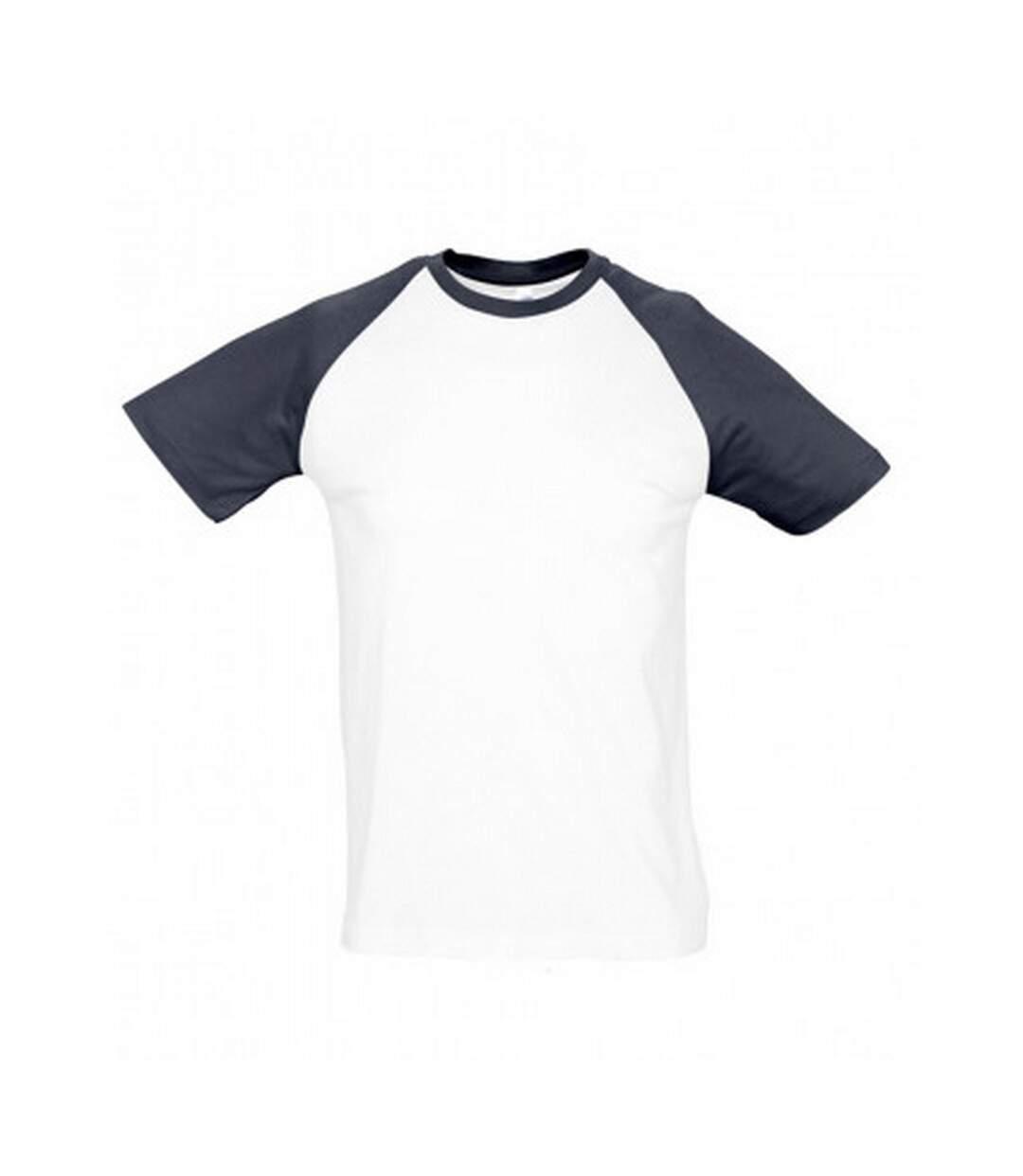 SOLS Mens Funky Contrast Short Sleeve T-Shirt (White/Navy) - UTPC300