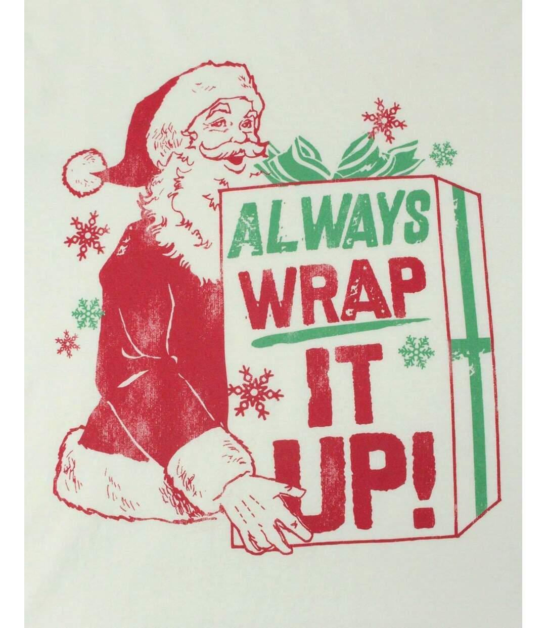 Junk Food Mens Always Wrap It Up Santa Claus T-Shirt (Ivory/Green/Red) - UTNS5523