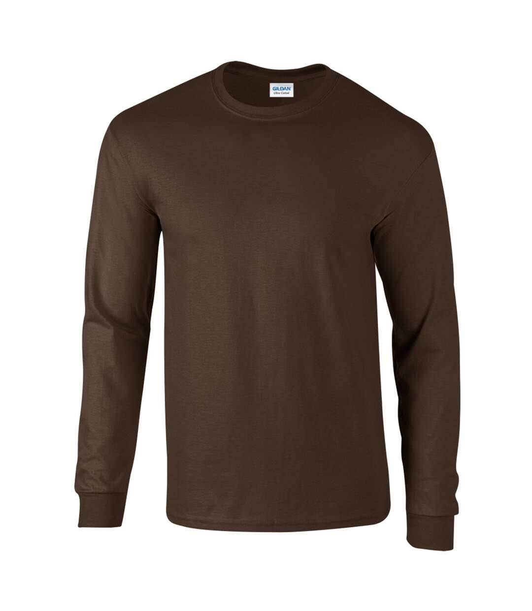 Gildan Mens Plain Crew Neck Ultra Cotton Long Sleeve T-Shirt (Dark Chocolate) - UTBC477