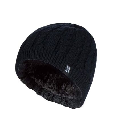 Womens Ribbed Cable Knit Fleece Lined Beanie Hat