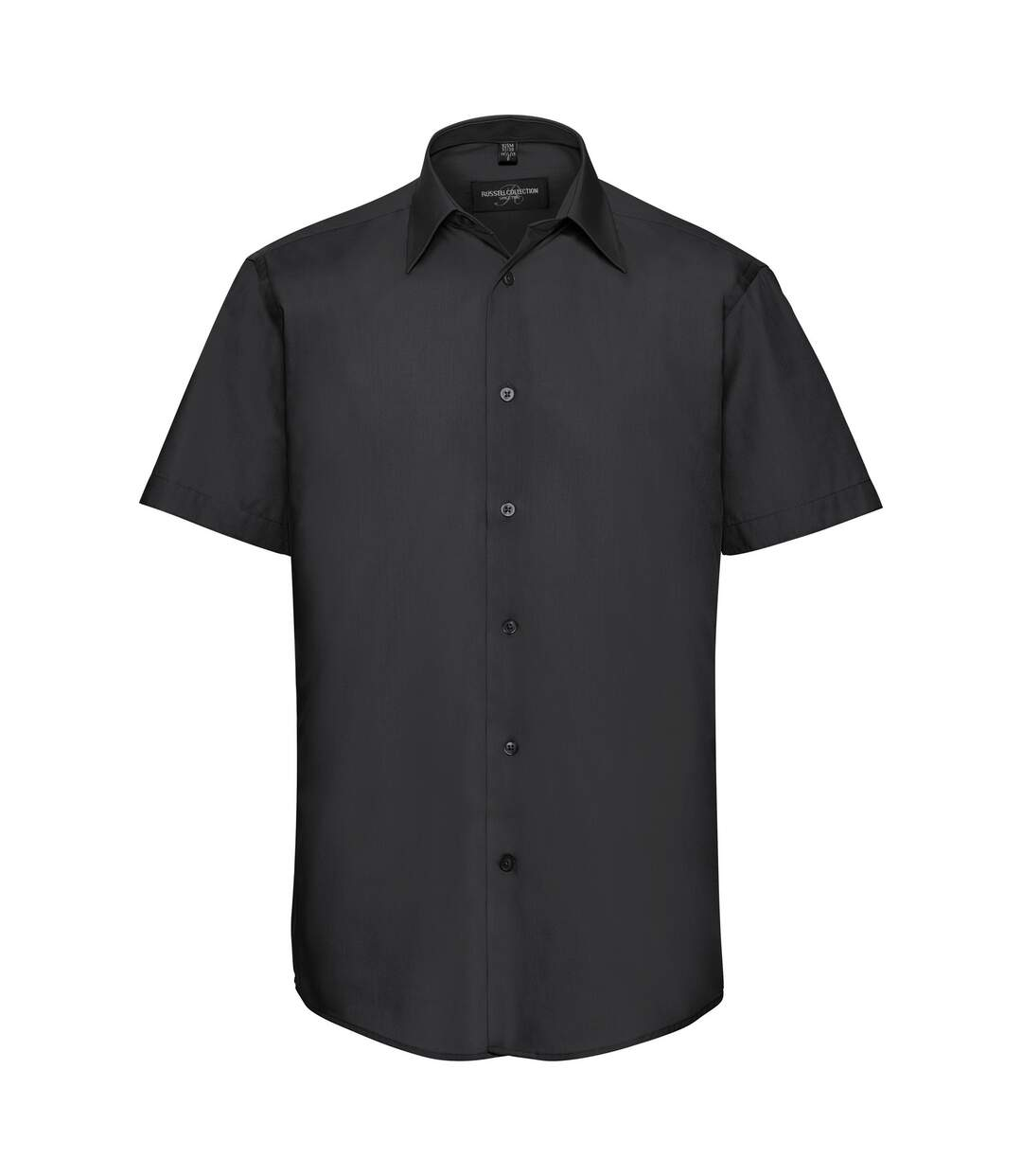 Russell Collection Mens Short Sleeve Poly-Cotton Easy Care Tailored Poplin Shirt (Black) - UTBC1020