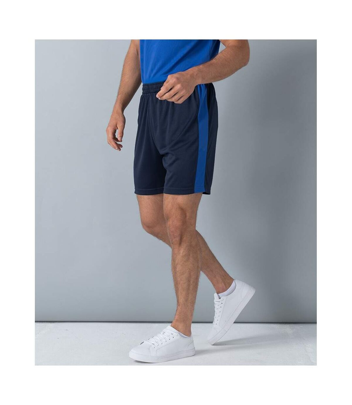Finden and Hales Mens Knitted Shorts (Navy/Royal Blue) - UTPC4028