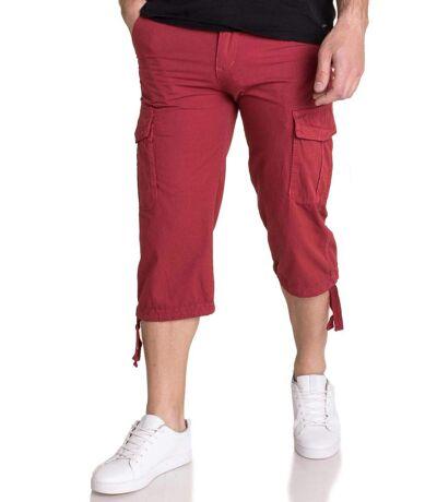 Pantacourt homme rouge multipoches à ceinture
