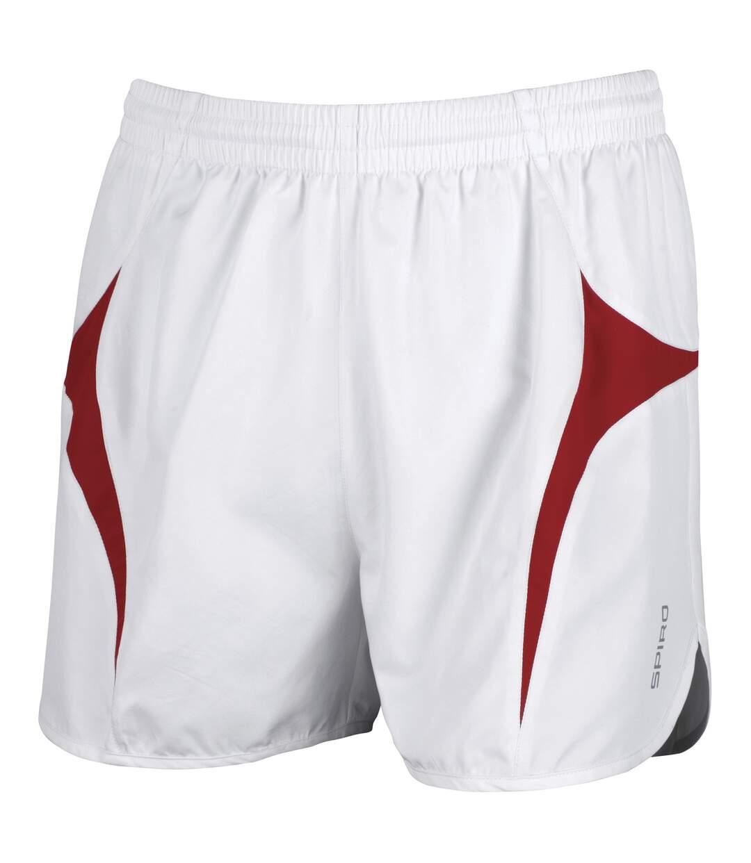 Spiro Mens Sports Micro-Lite Running Shorts (White/Red) - UTRW1477