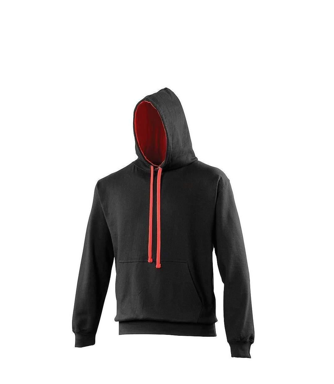 Sweat à capuche contrastée unisexe - JH003 - noir et rouge