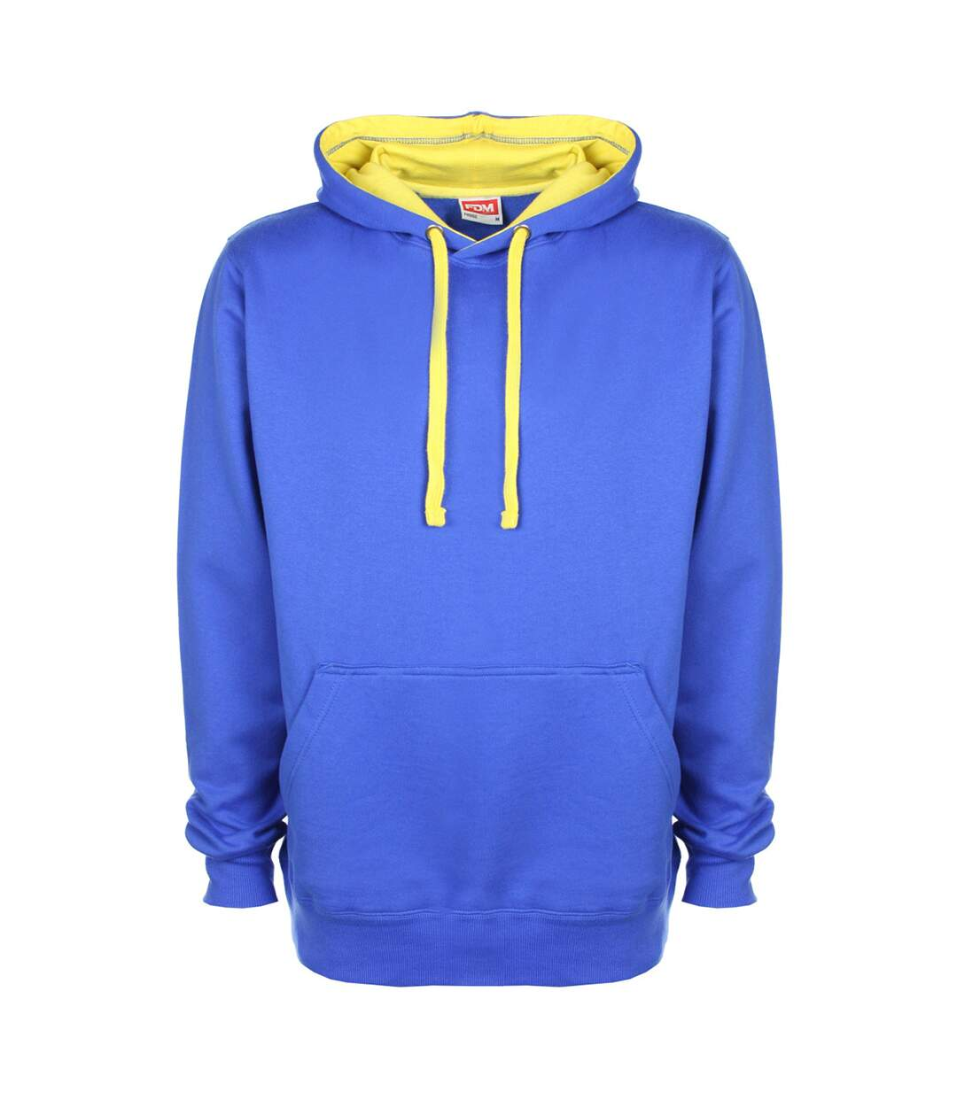 FDM Unisex Contrast Hooded Sweatshirt / Hoodie (300 GSM) (Royal/Empire Yelllow) - UTBC2025
