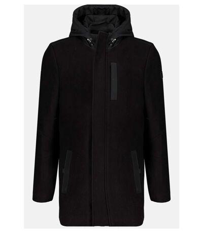 Manteau en laine à capuche CONTINU Black