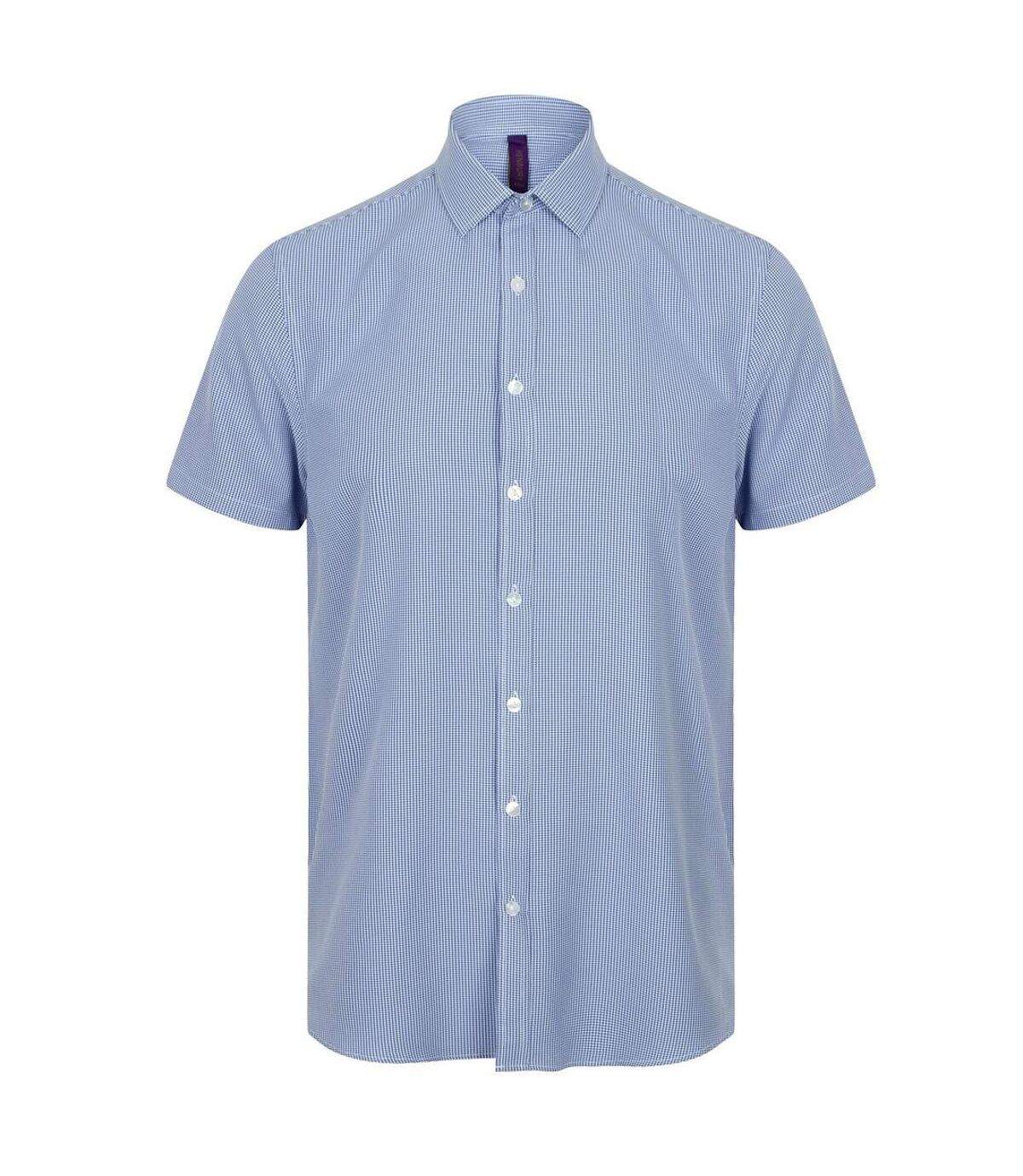 Henbury Mens Gingham Short Sleeve Shirt (Blue/White) - UTPC2955