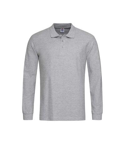 Stedman Mens Long Sleeved Cotton Polo (Heather Grey) - UTAB285
