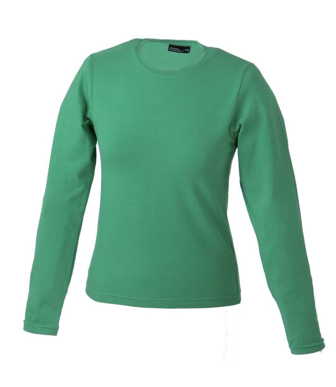 T shirt stretch femme manches longues JN054 vert