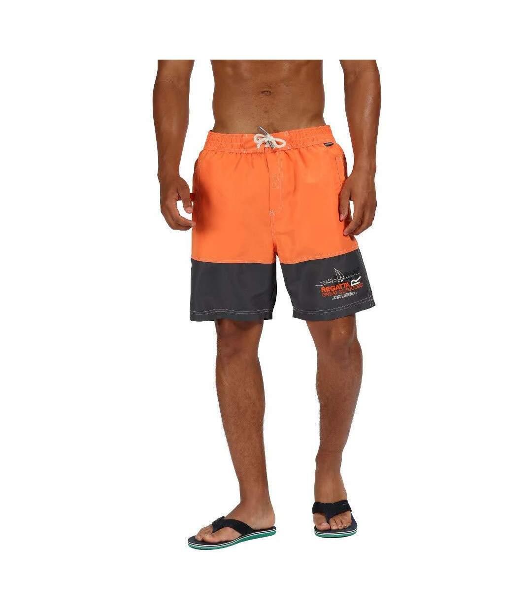 Regatta Mens Bratchmar III Quick Drying Swim Shorts (Blaze Orange/Seal Grey) - UTRG4173
