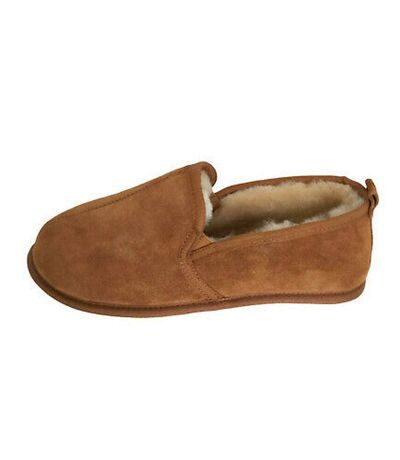 Eastern Counties Leather Mens Sheepskin Lined Soft Suede Sole Slippers (Chestnut) - UTEL162