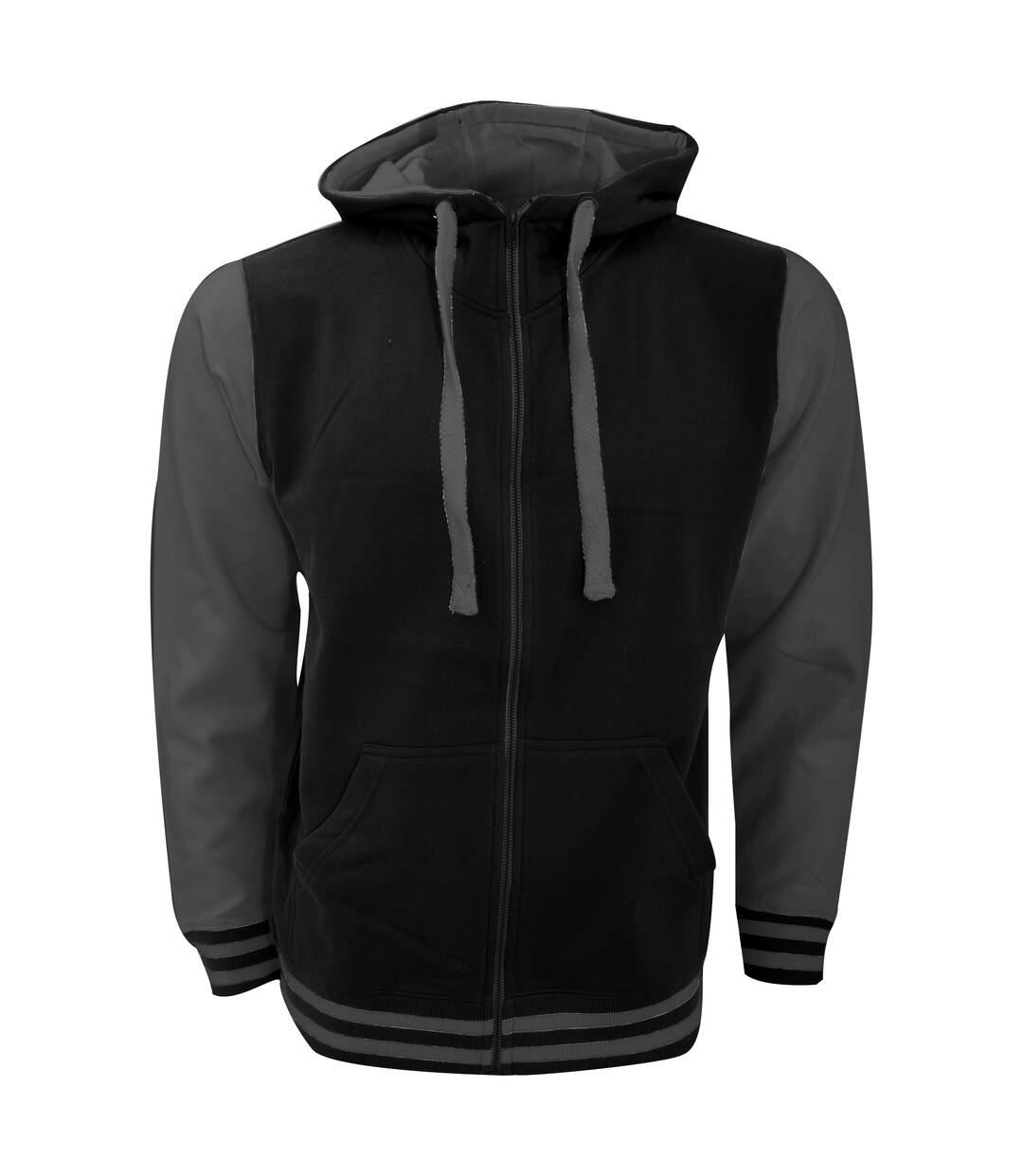 FDM Mens Active Zip Hoodie (Black/Charcoal) - UTBC3183