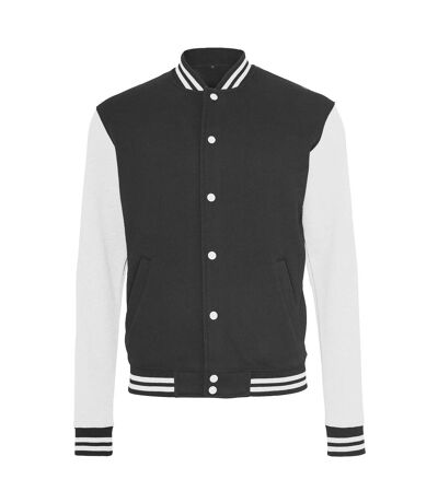 Build Your Brand Mens Sweat College Jacket (Black/White) - UTRW5677