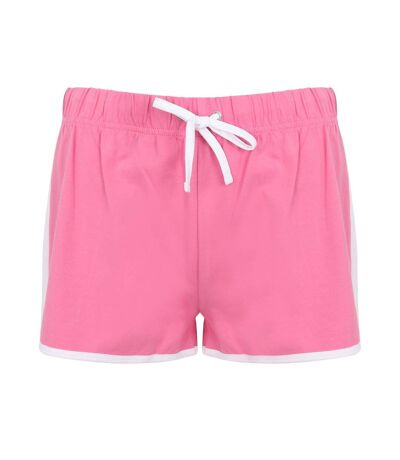 Skinni Fit - Short de sport rétro - Femme (Rose/Blanc) - UTRW2838