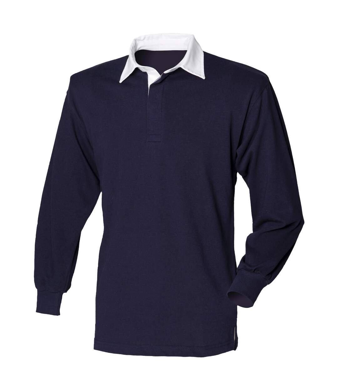 Front Row Long Sleeve Classic Rugby Polo Shirt (Navy/Navy) - UTRW478