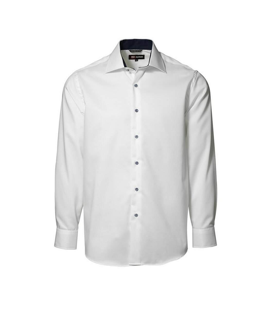 ID Mens Classic Easy Iron Contrast Long Sleeve Regular Fitting Formal Shirt (White) - UTID264