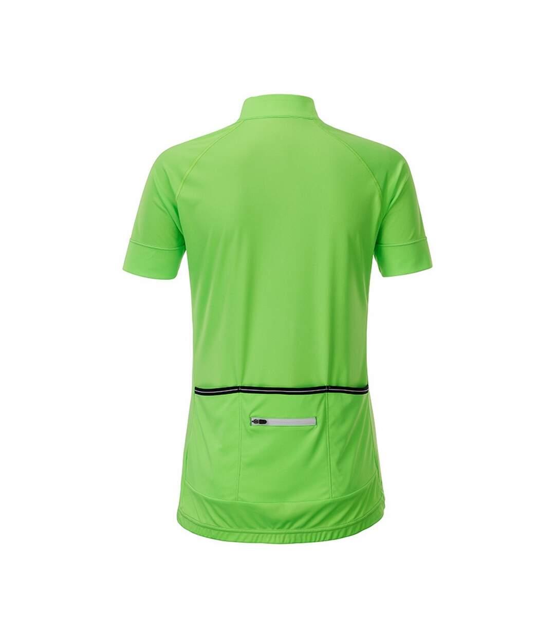 James And Nicholson - T-Shirt Zippé - Femme (Vert vif / blanc) - UTFU166