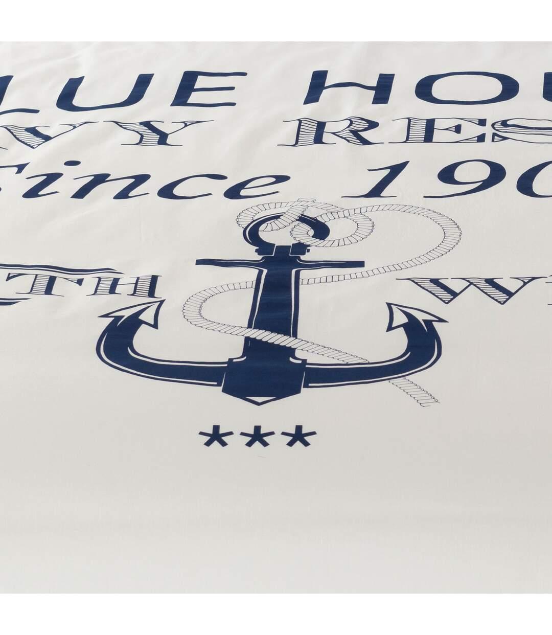 Parure de lit 240x220 cm 100% coton bio RESORT Bleu 3 pièces