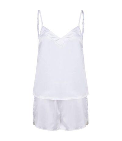 Towel City Ladies/Womens Satin Cami Short PJs (White) - UTPC4070