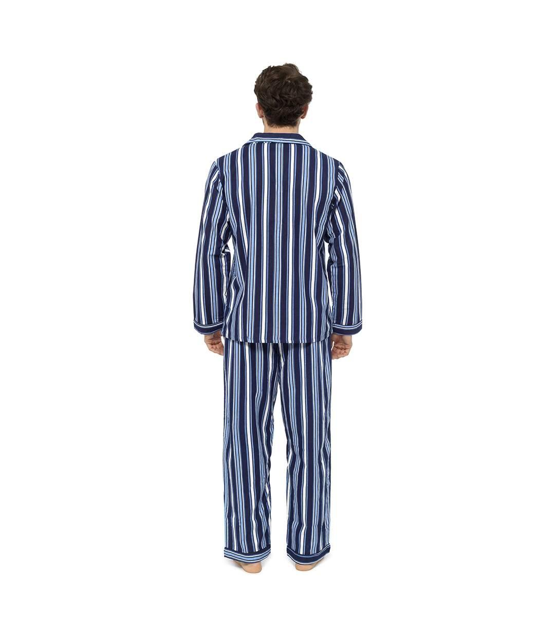 Tom Franks Mens Striped Flannel Pyjama Set (Blue) - UTUT548