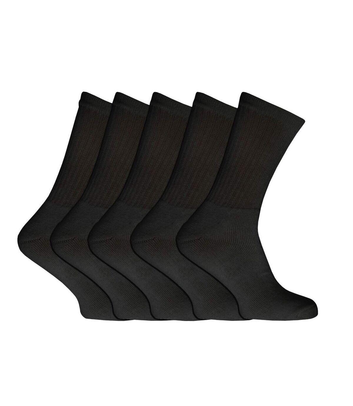 Mens Plain Sports Socks (Pack Of 5) (Black) - UTMB122