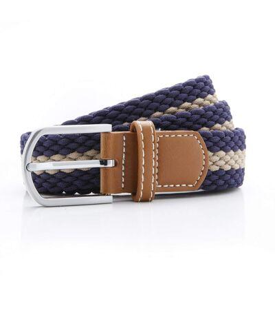 Asquith & Fox Mens Two Colour Stripe Braid Stretch Belt (Black/Burgundy) - UTRW5539