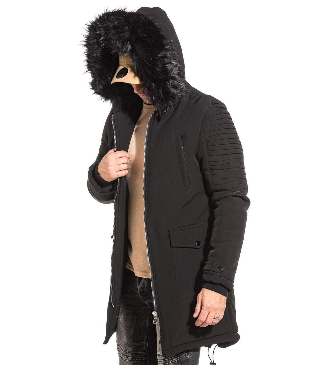 Parka manteau noir avec capuche fausse fourrure noir pour homme