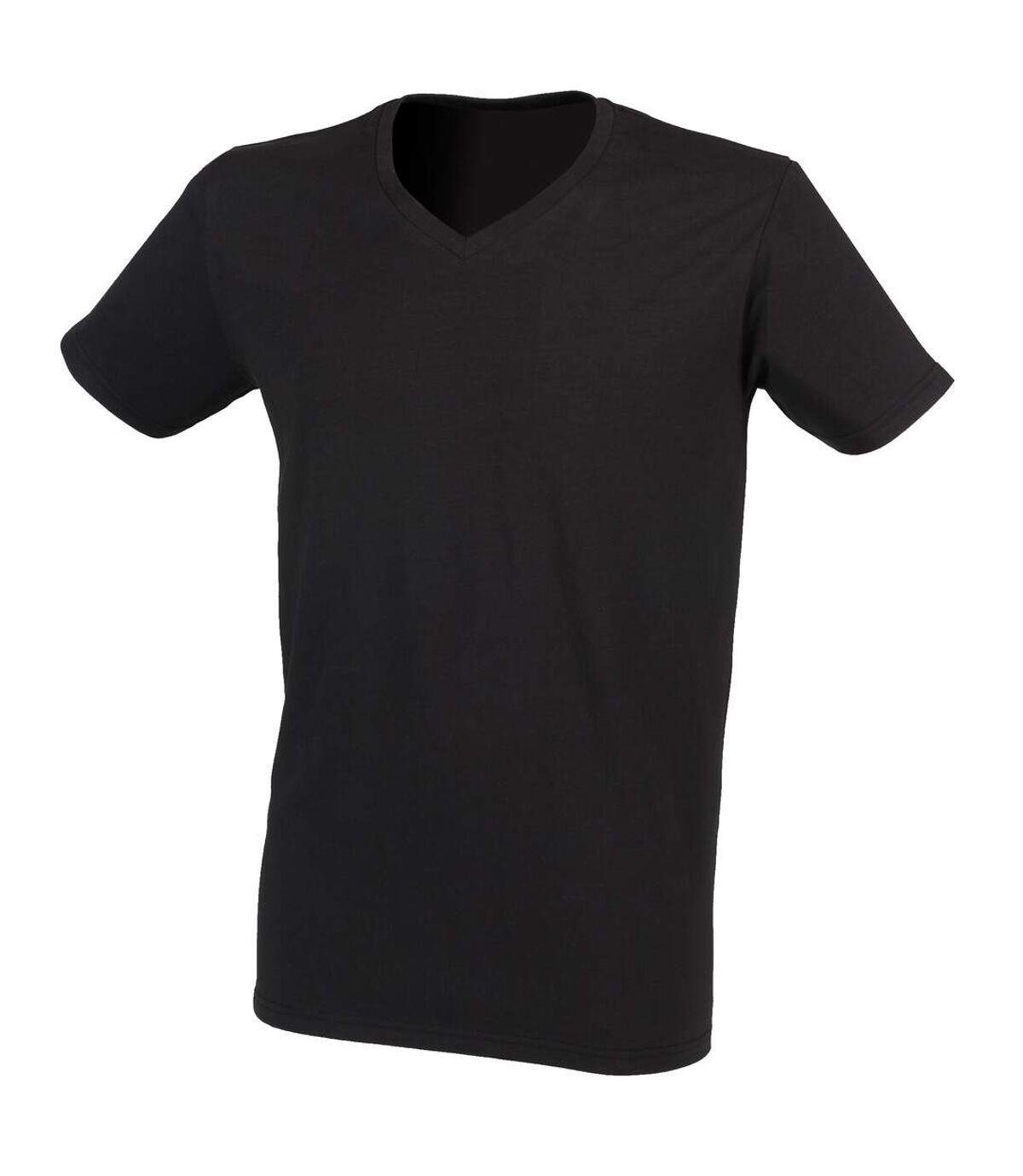 Skinni Fit - T-shirt à manches courtes et col en V - Homme (Noir) - UTRW4428