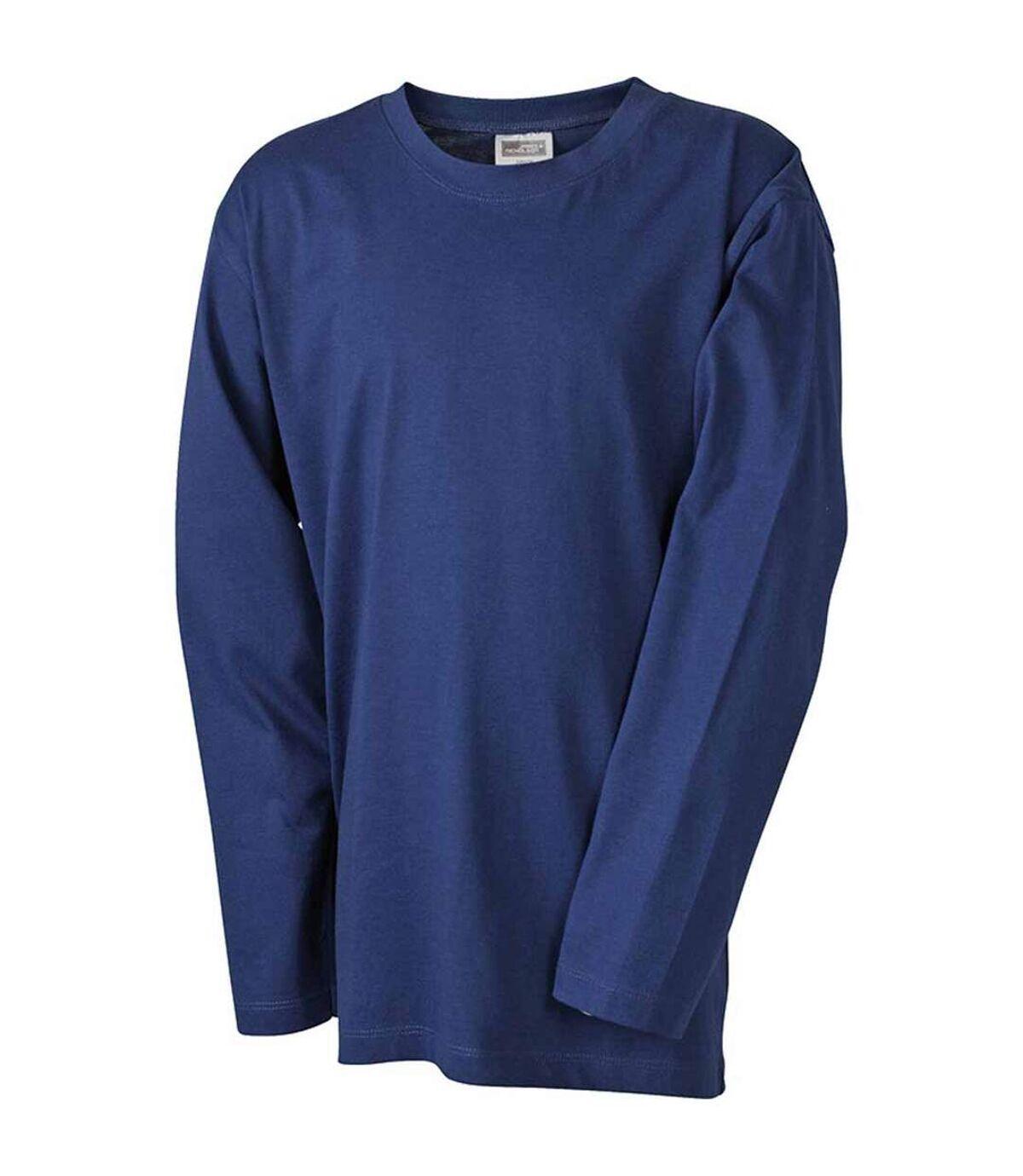 T-shirt manches longues adulte homme coupe droite JN913 - bleu marine